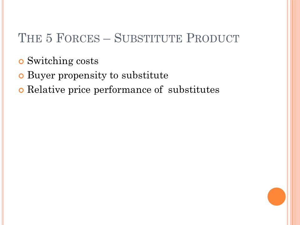 The 5 Forces – Substitute Product