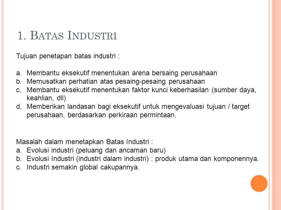 1. Batas Industri Tujuan penetapan batas industri :