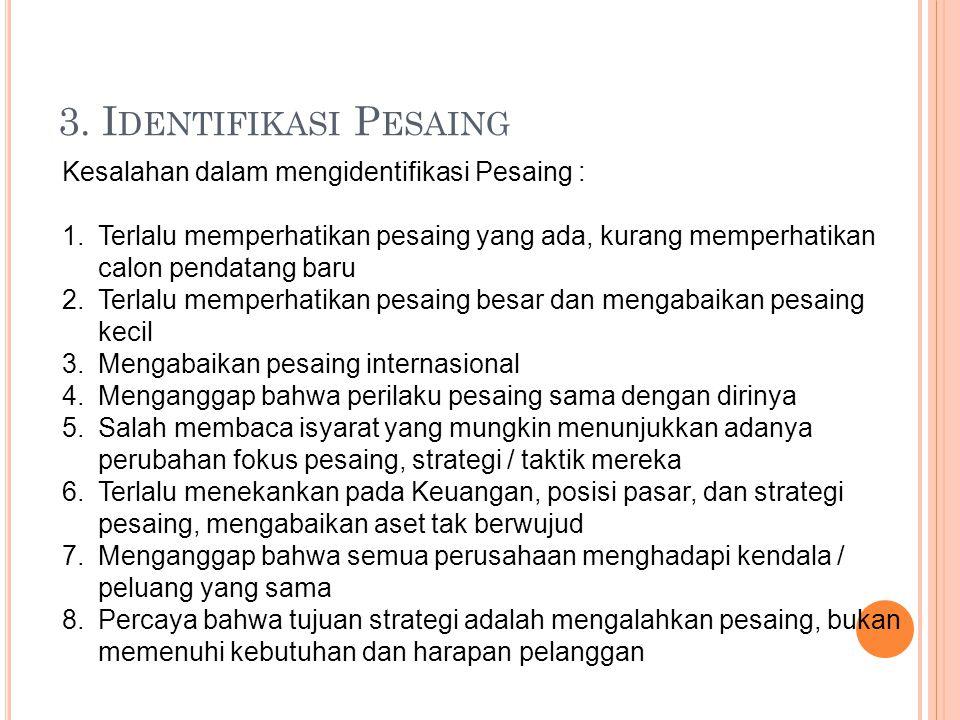 3. Identifikasi Pesaing Kesalahan dalam mengidentifikasi Pesaing :