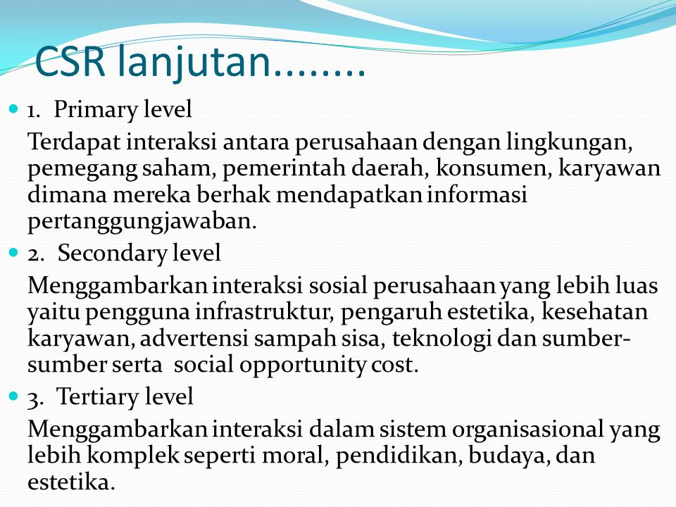 CSR lanjutan........ 1. Primary level
