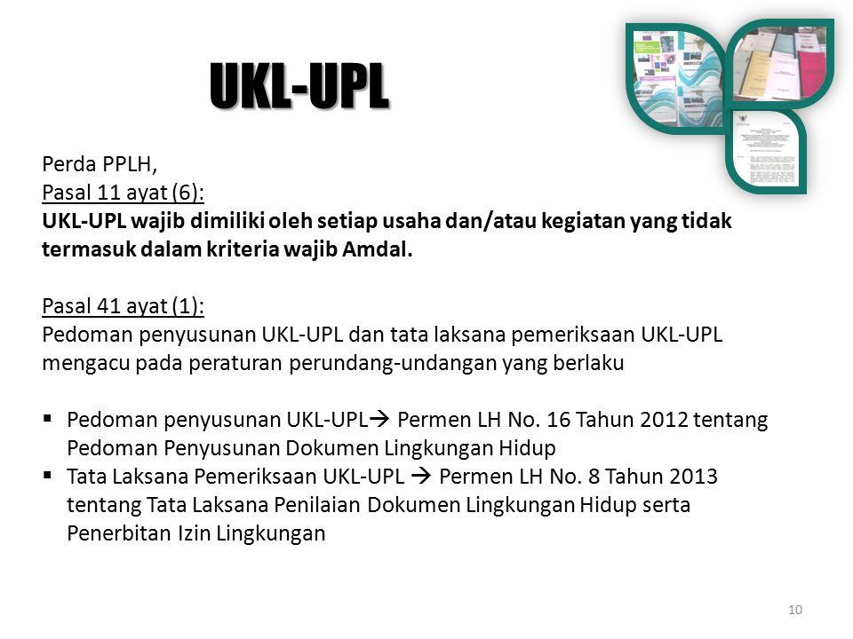 UKL-UPL Perda PPLH, Pasal 11 ayat (6):