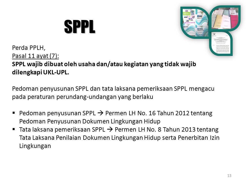 SPPL Perda PPLH, Pasal 11 ayat (7):