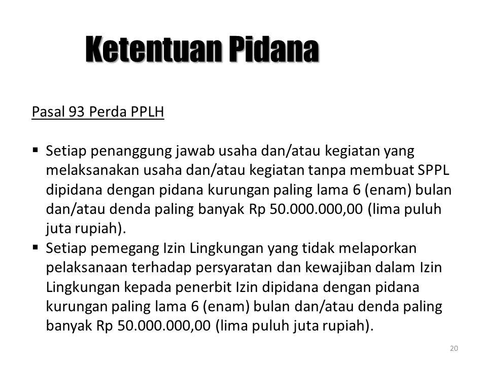 Ketentuan Pidana Pasal 93 Perda PPLH