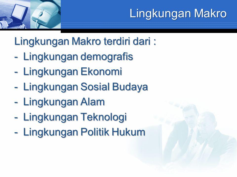 Lingkungan Makro Lingkungan Makro terdiri dari : Lingkungan demografis