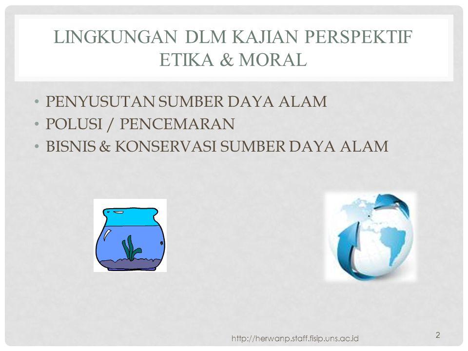 LINGKUNGAN DLM KAJIAN PERSPEKTIF ETIKA & MORAL