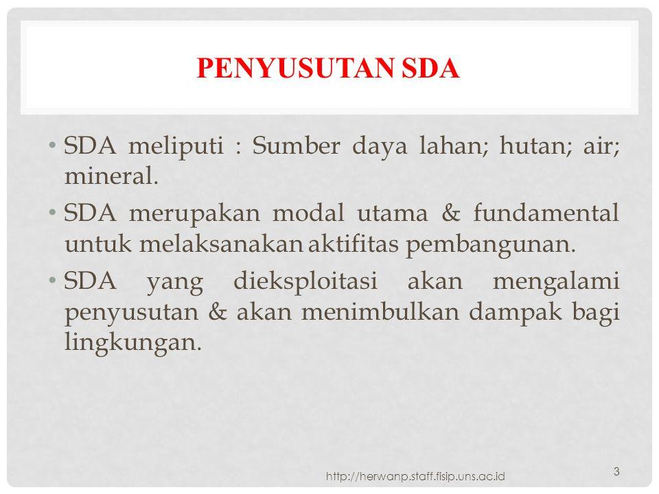 Penyusutan SDA SDA meliputi : Sumber daya lahan; hutan; air; mineral.