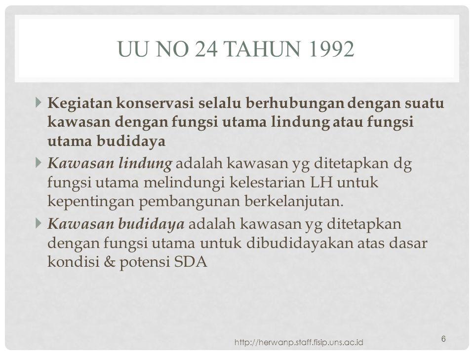 UU No 24 Tahun 1992 Kegiatan konservasi selalu berhubungan dengan suatu kawasan dengan fungsi utama lindung atau fungsi utama budidaya.