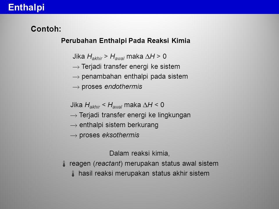 Enthalpi Contoh: Perubahan Enthalpi Pada Reaksi Kimia