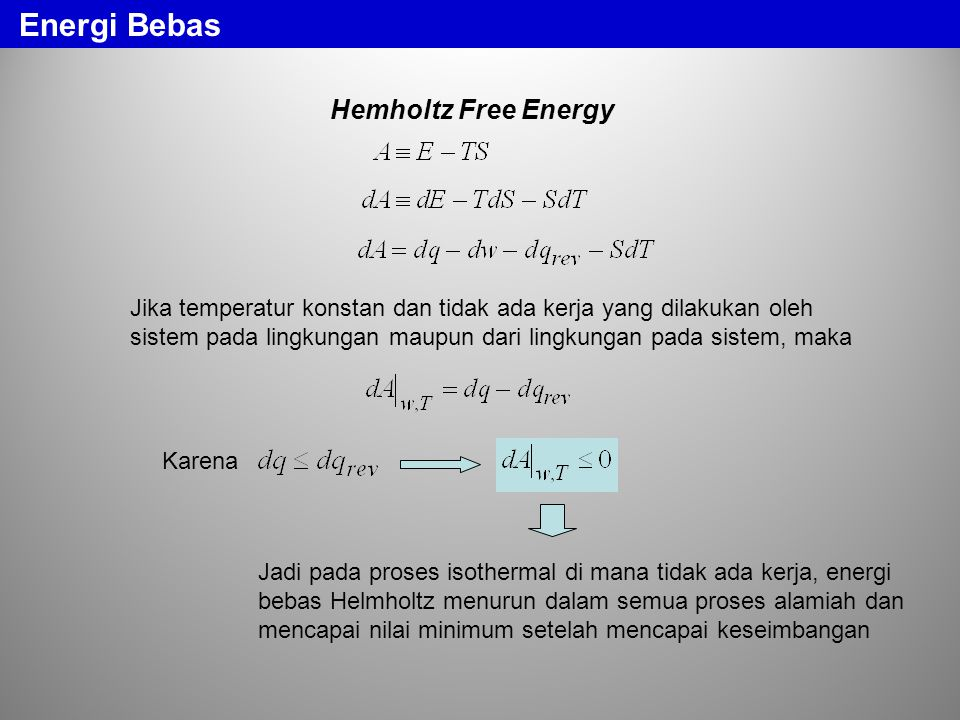 Energi Bebas Hemholtz Free Energy