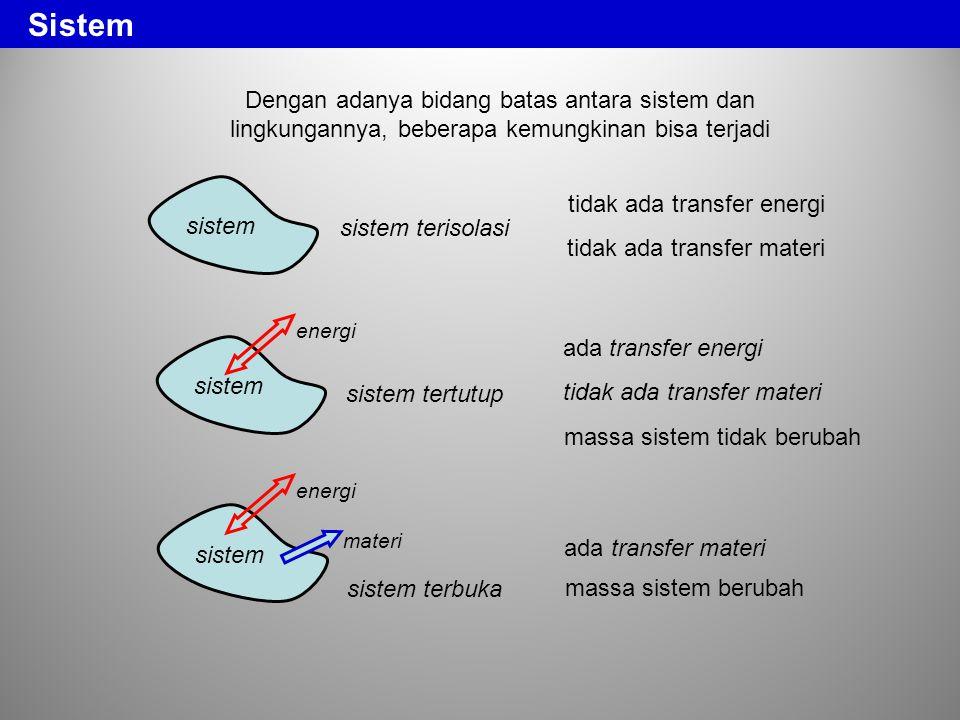 Sistem Dengan adanya bidang batas antara sistem dan lingkungannya, beberapa kemungkinan bisa terjadi.