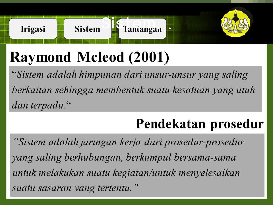 Sistem… Raymond Mcleod (2001) Pendekatan prosedur