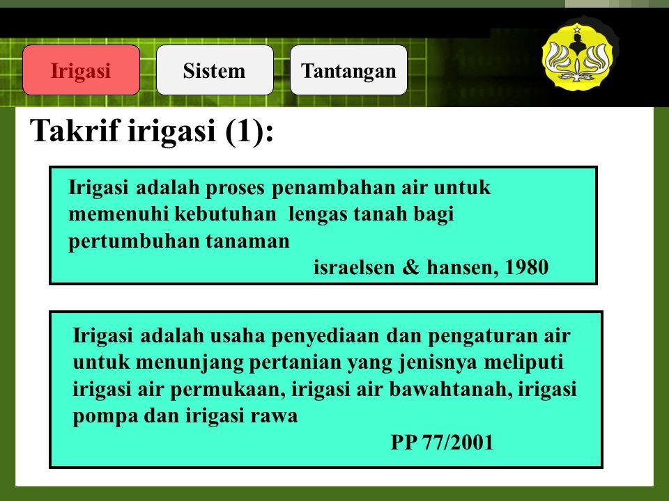Takrif irigasi (1): Irigasi adalah proses penambahan air untuk