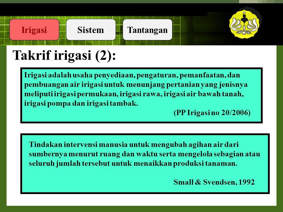 Takrif irigasi (2): Irigasi adalah usaha penyediaan, pengaturan, pemanfaatan, dan. pembuangan air irigasi untuk menunjang pertanian yang jenisnya.