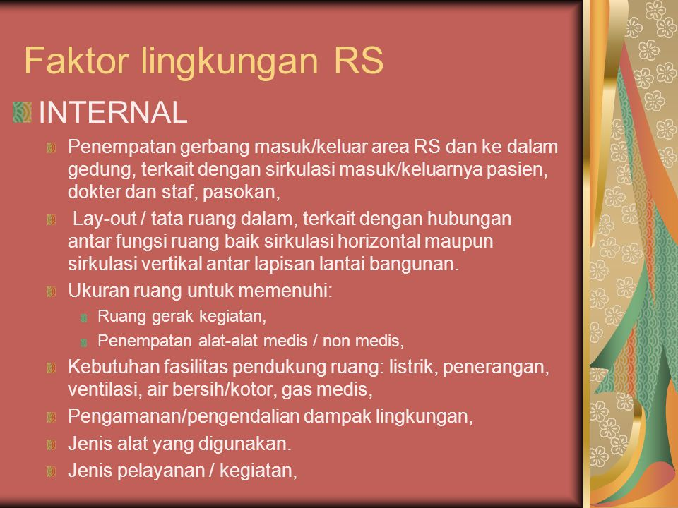 Faktor lingkungan RS INTERNAL