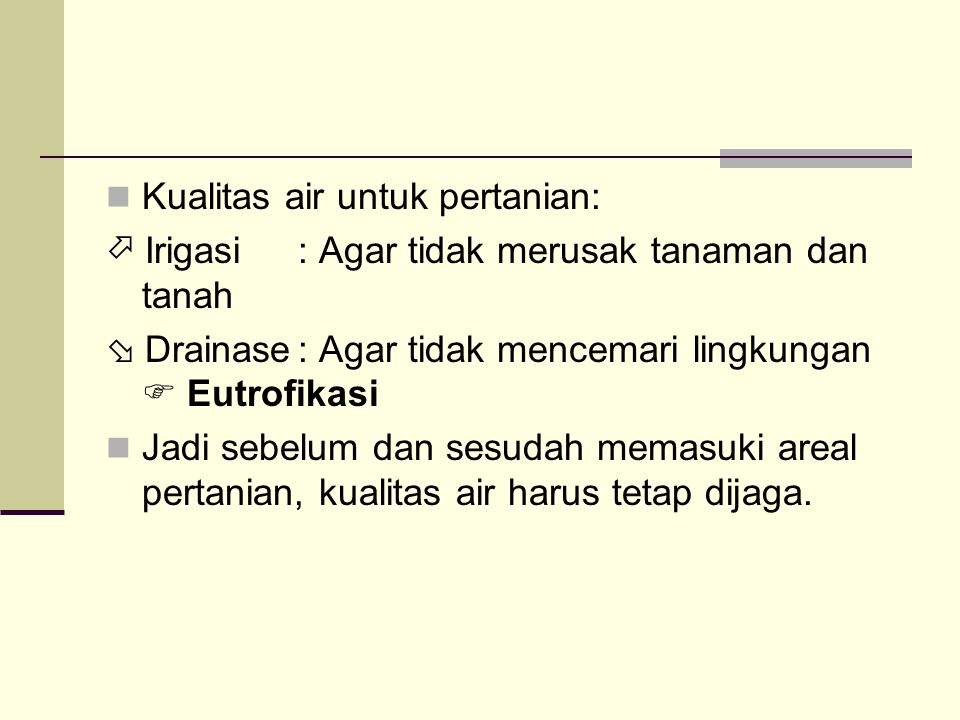 Kualitas air untuk pertanian: