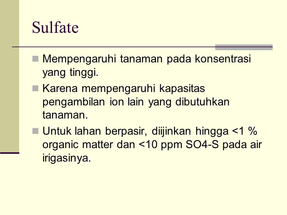 Sulfate Mempengaruhi tanaman pada konsentrasi yang tinggi.