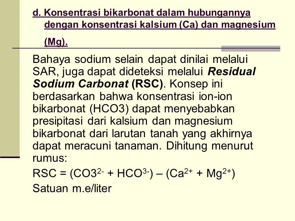 RSC = (CO32- + HCO3-) – (Ca2+ + Mg2+) Satuan m.e/liter