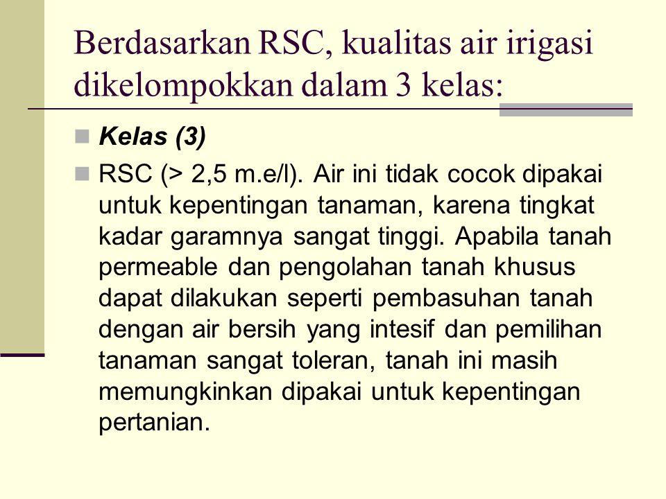 Berdasarkan RSC, kualitas air irigasi dikelompokkan dalam 3 kelas: