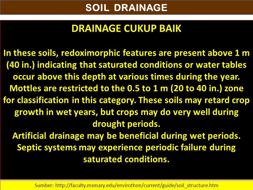 DRAINAGE CUKUP BAIK SOIL DRAINAGE