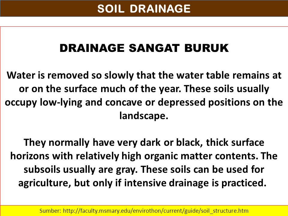 SOIL DRAINAGE DRAINAGE SANGAT BURUK