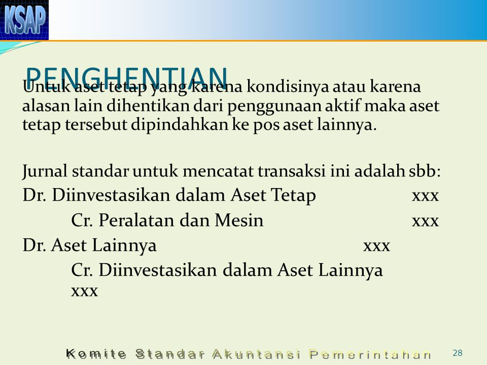 PENGHENTIAN Dr. Diinvestasikan dalam Aset Tetap xxx