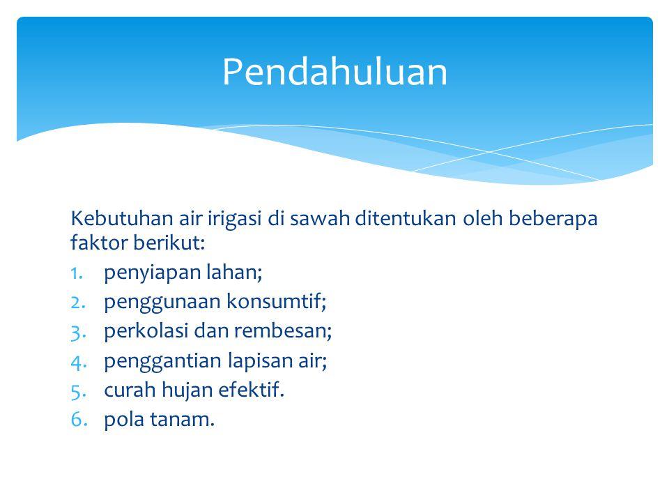 Pendahuluan Kebutuhan air irigasi di sawah ditentukan oleh beberapa faktor berikut: penyiapan lahan;