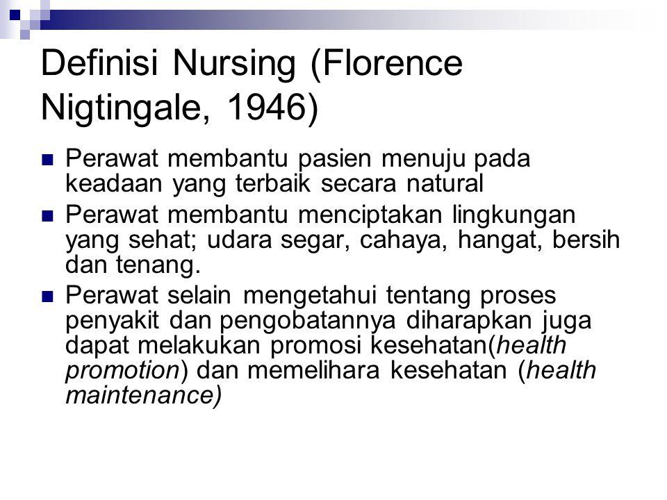 Definisi Nursing (Florence Nigtingale, 1946)