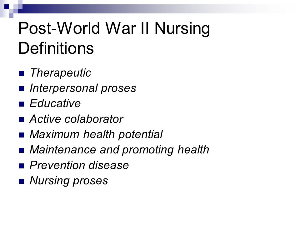 Post-World War II Nursing Definitions