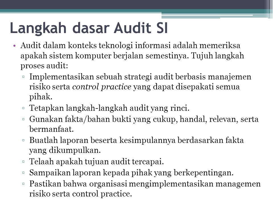 Langkah dasar Audit SI