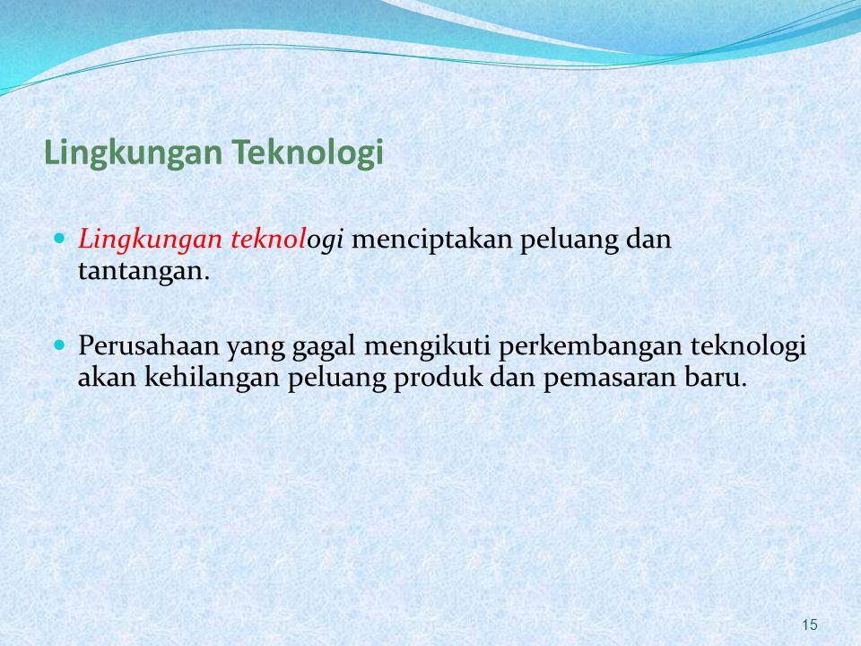 Lingkungan Teknologi Lingkungan teknologi menciptakan peluang dan tantangan.