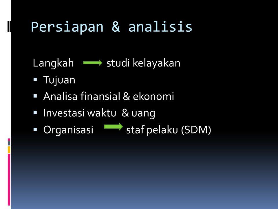 Persiapan & analisis Langkah studi kelayakan Tujuan