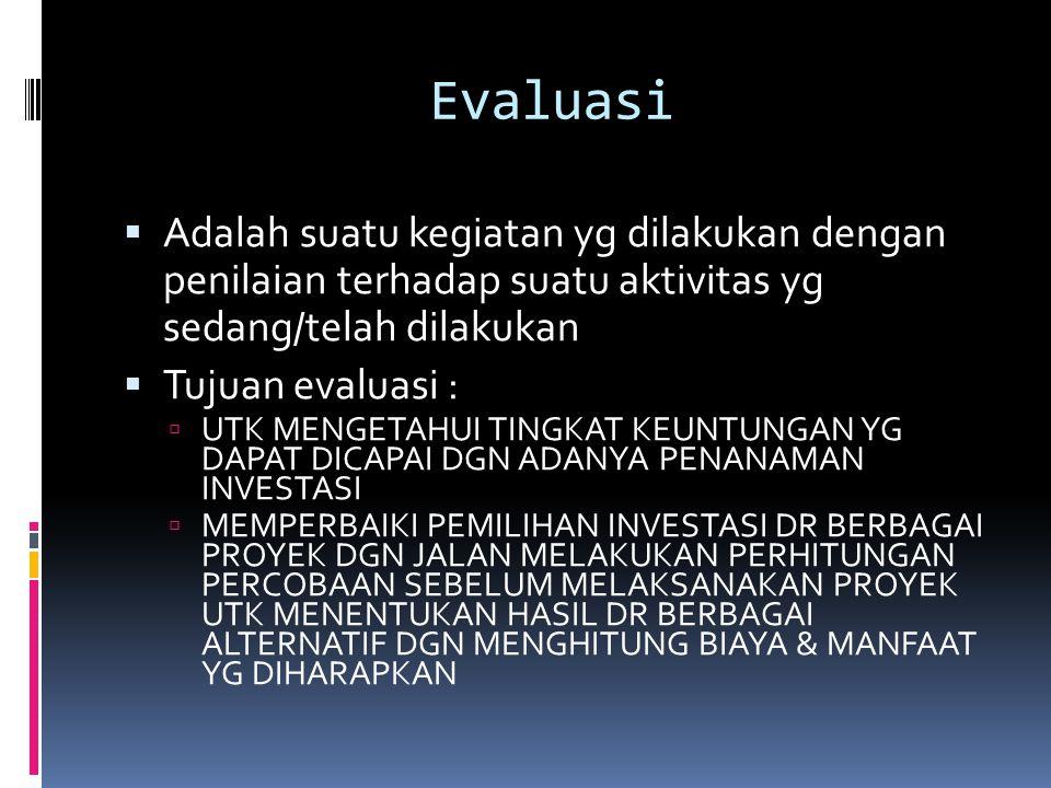 Evaluasi Adalah suatu kegiatan yg dilakukan dengan penilaian terhadap suatu aktivitas yg sedang/telah dilakukan.