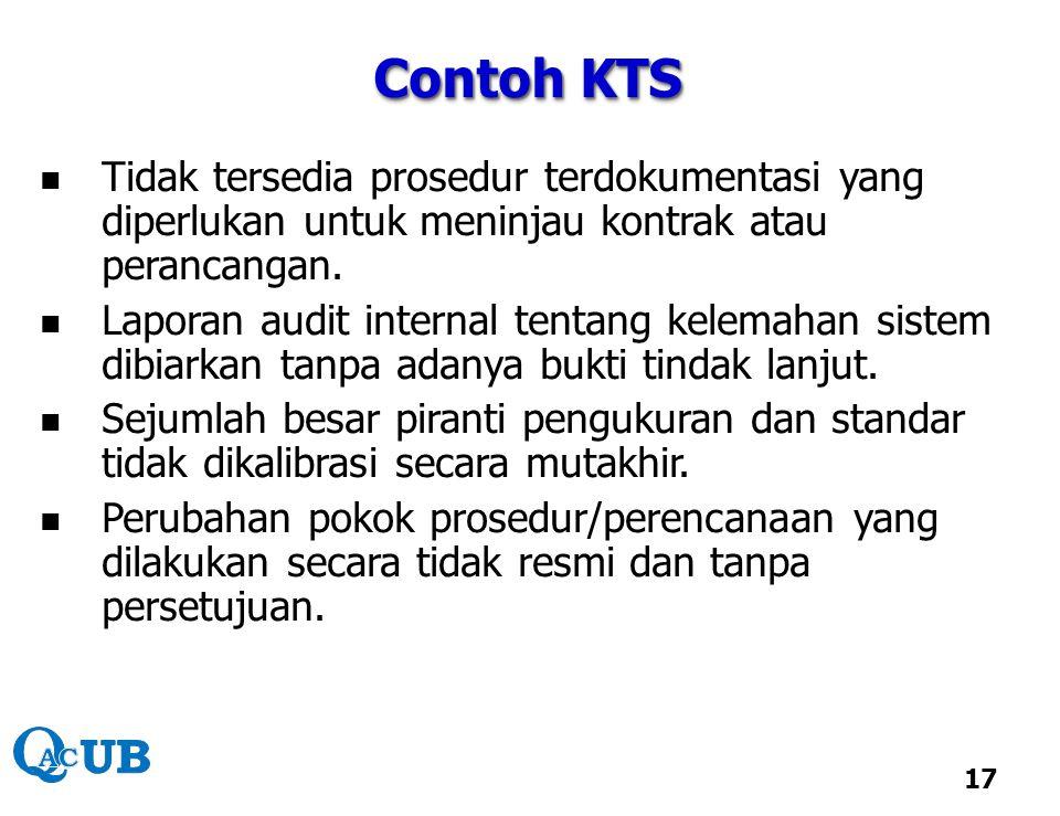 Contoh KTS Tidak tersedia prosedur terdokumentasi yang diperlukan untuk meninjau kontrak atau perancangan.