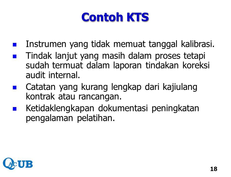 Contoh KTS Instrumen yang tidak memuat tanggal kalibrasi.