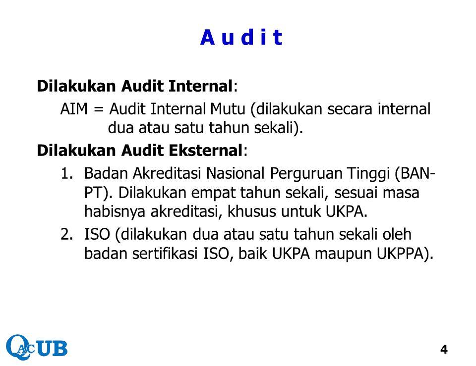 A u d i t Dilakukan Audit Internal: