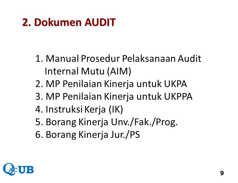 2. Dokumen AUDIT Internal Mutu (AIM)