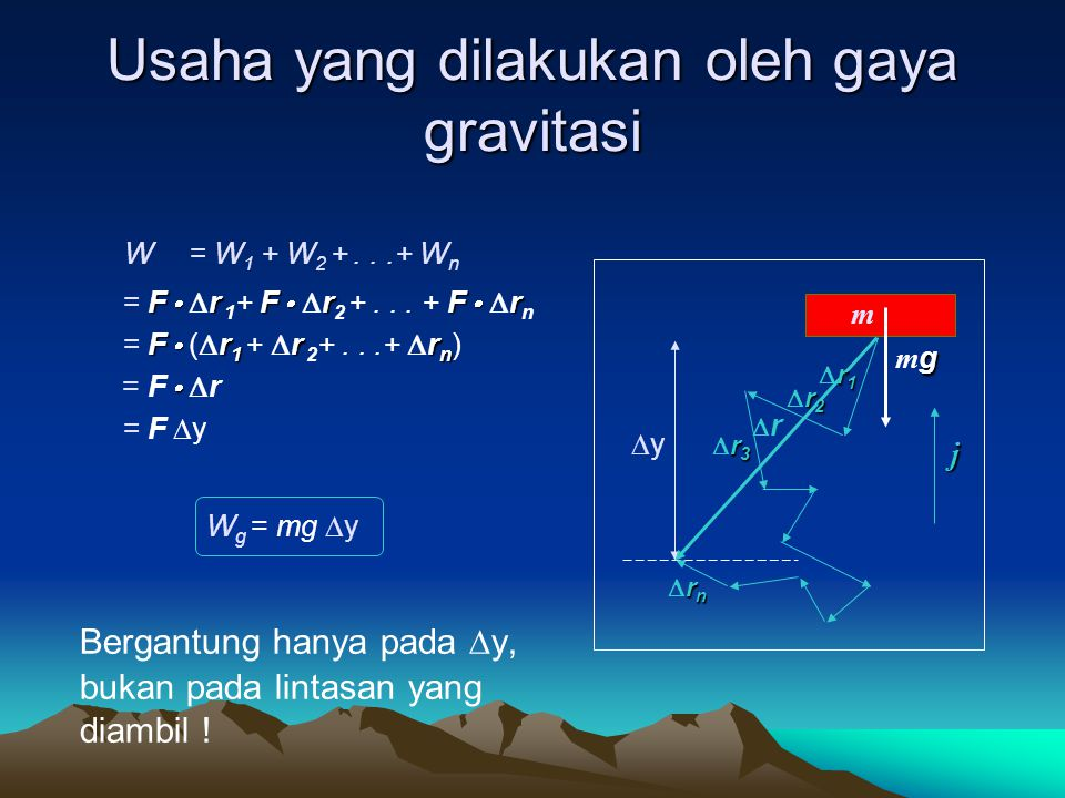 Usaha yang dilakukan oleh gaya gravitasi