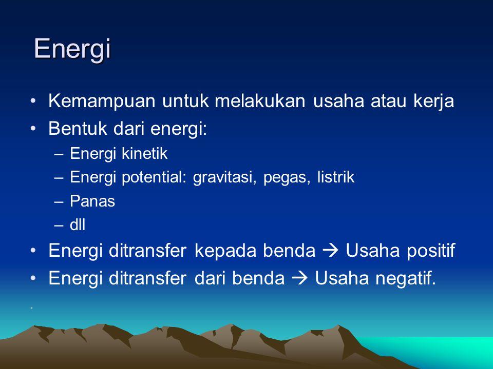 Energi Kemampuan untuk melakukan usaha atau kerja Bentuk dari energi: