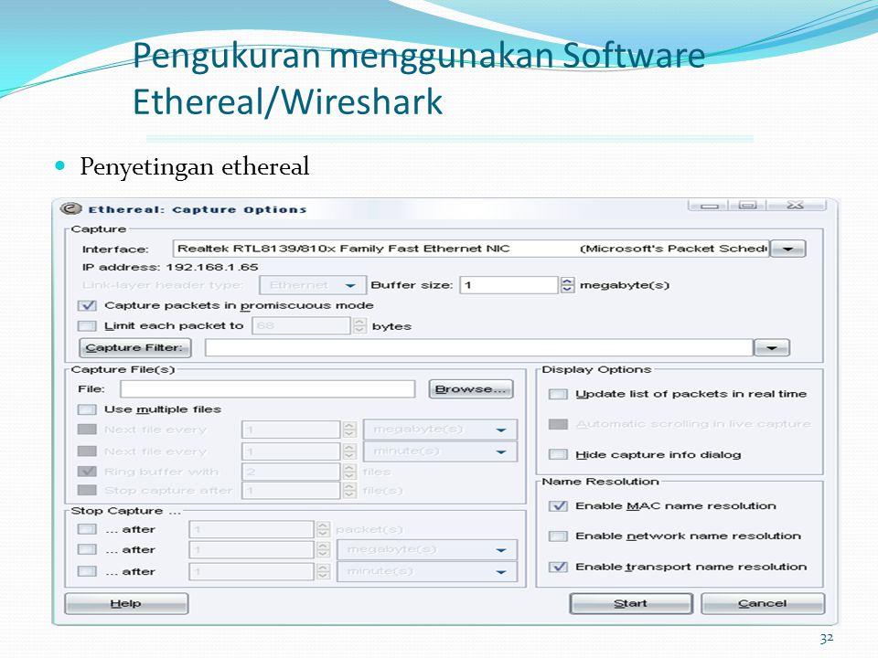 Pengukuran menggunakan Software Ethereal/Wireshark