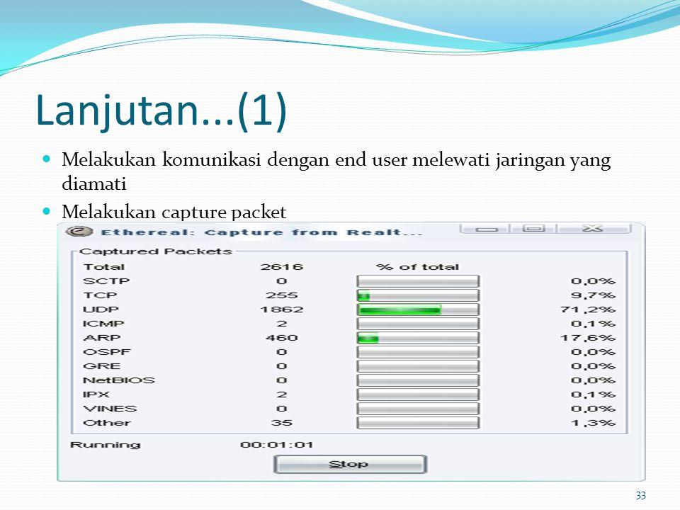 Lanjutan...(1) Melakukan komunikasi dengan end user melewati jaringan yang diamati.
