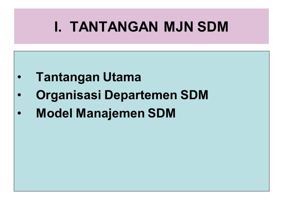 I. TANTANGAN MJN SDM Tantangan Utama Organisasi Departemen SDM