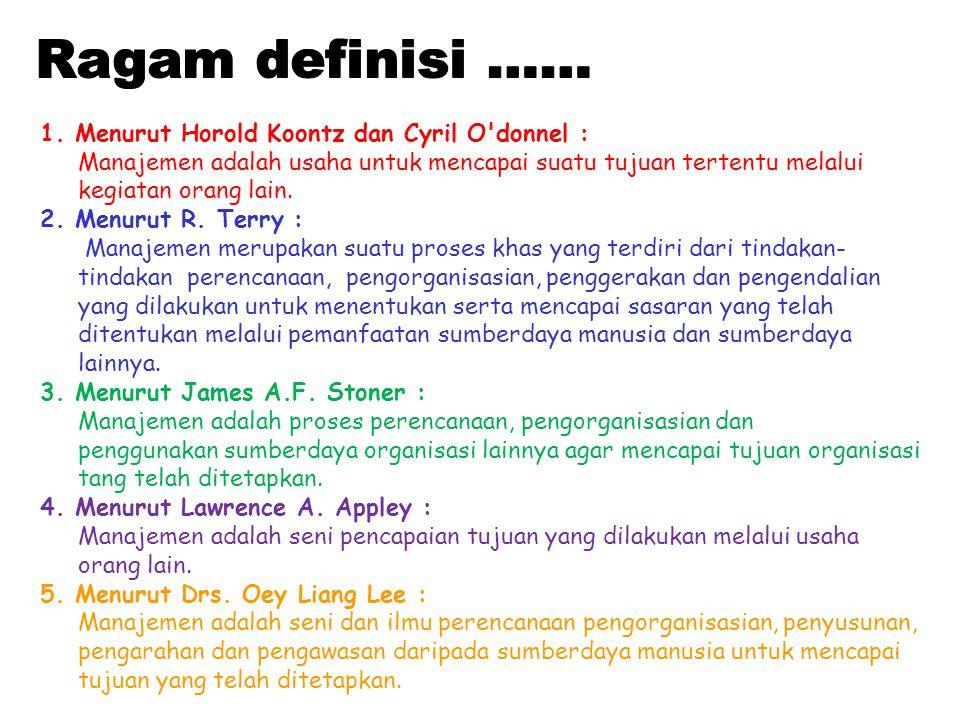 Ragam definisi …… 1. Menurut Horold Koontz dan Cyril O donnel :