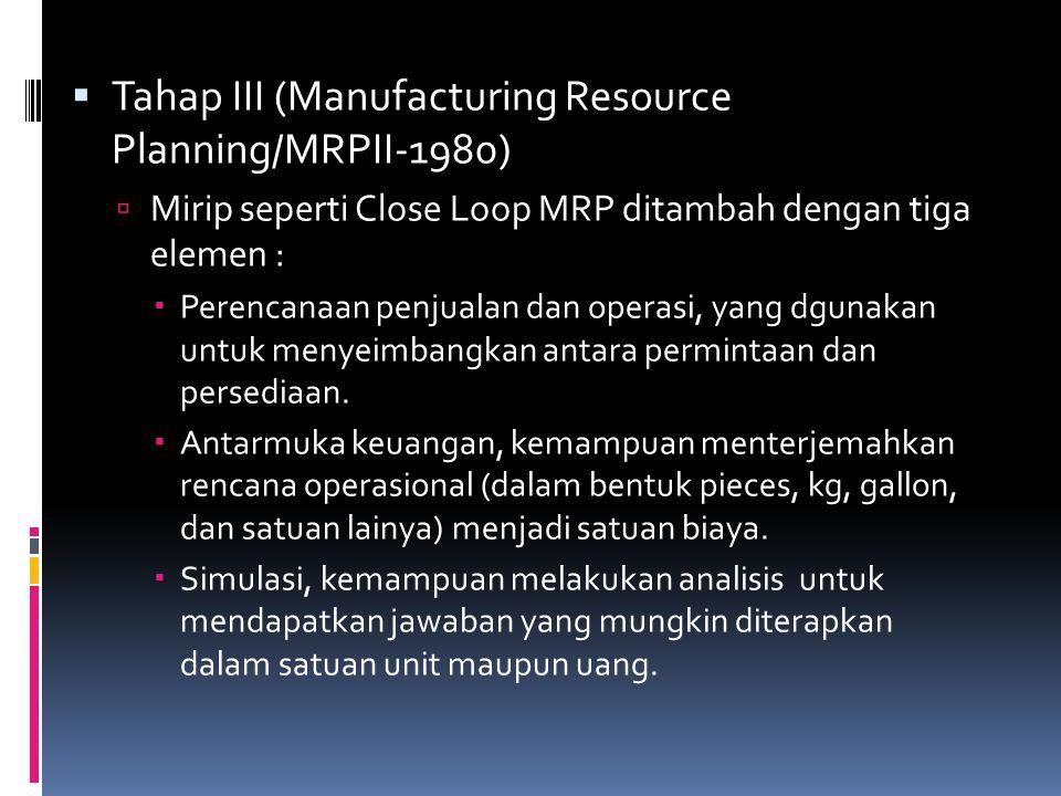Tahap III (Manufacturing Resource Planning/MRPII-1980)