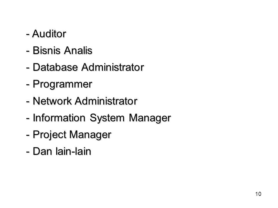 - Auditor - Bisnis Analis. - Database Administrator. - Programmer. - Network Administrator. - Information System Manager.