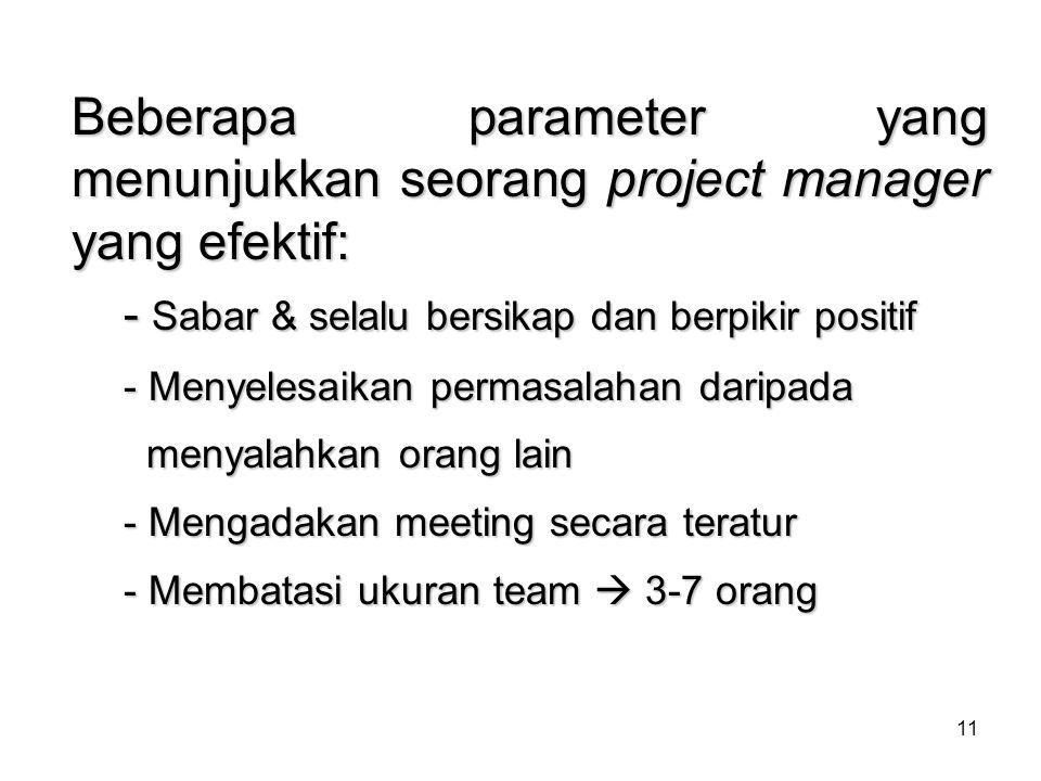 Beberapa parameter yang menunjukkan seorang project manager yang efektif: