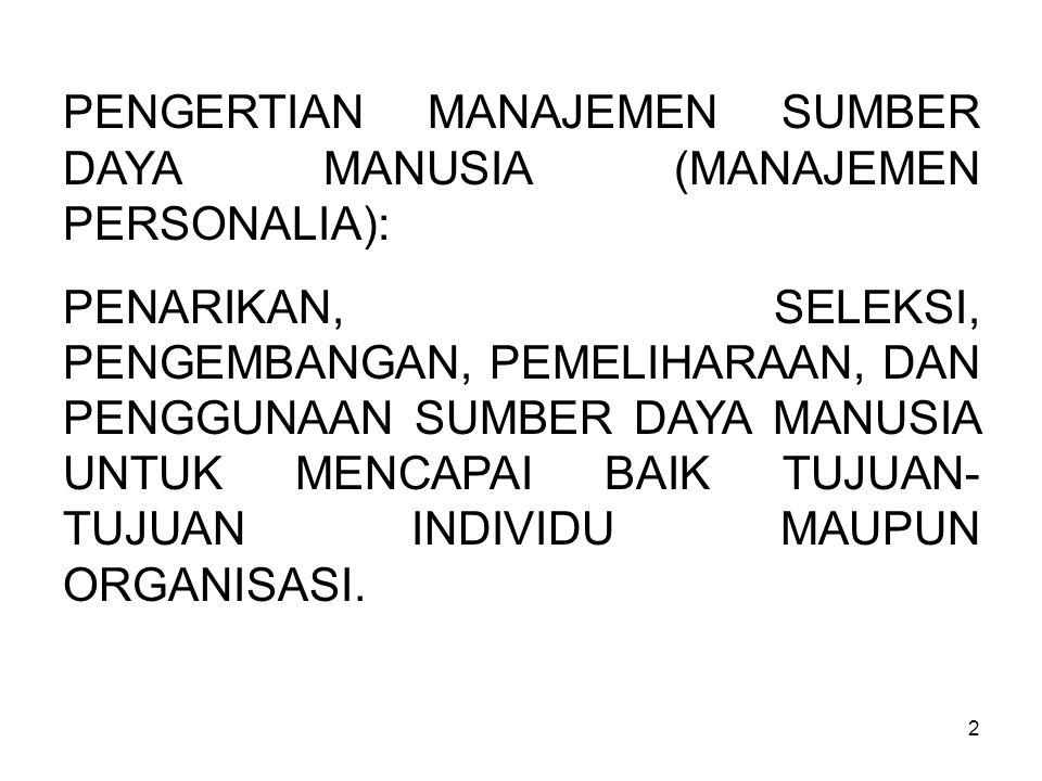 PENGERTIAN MANAJEMEN SUMBER DAYA MANUSIA (MANAJEMEN PERSONALIA):