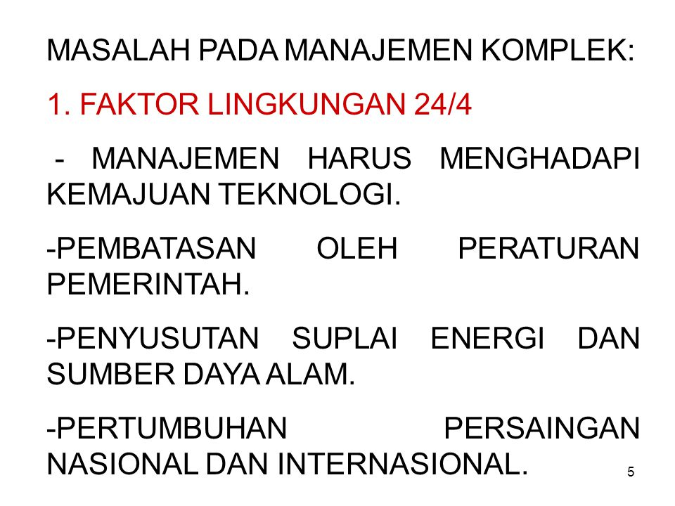 MASALAH PADA MANAJEMEN KOMPLEK: