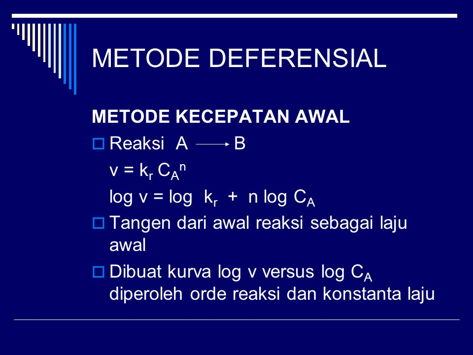 METODE DEFERENSIAL METODE KECEPATAN AWAL Reaksi A B v = kr CAn