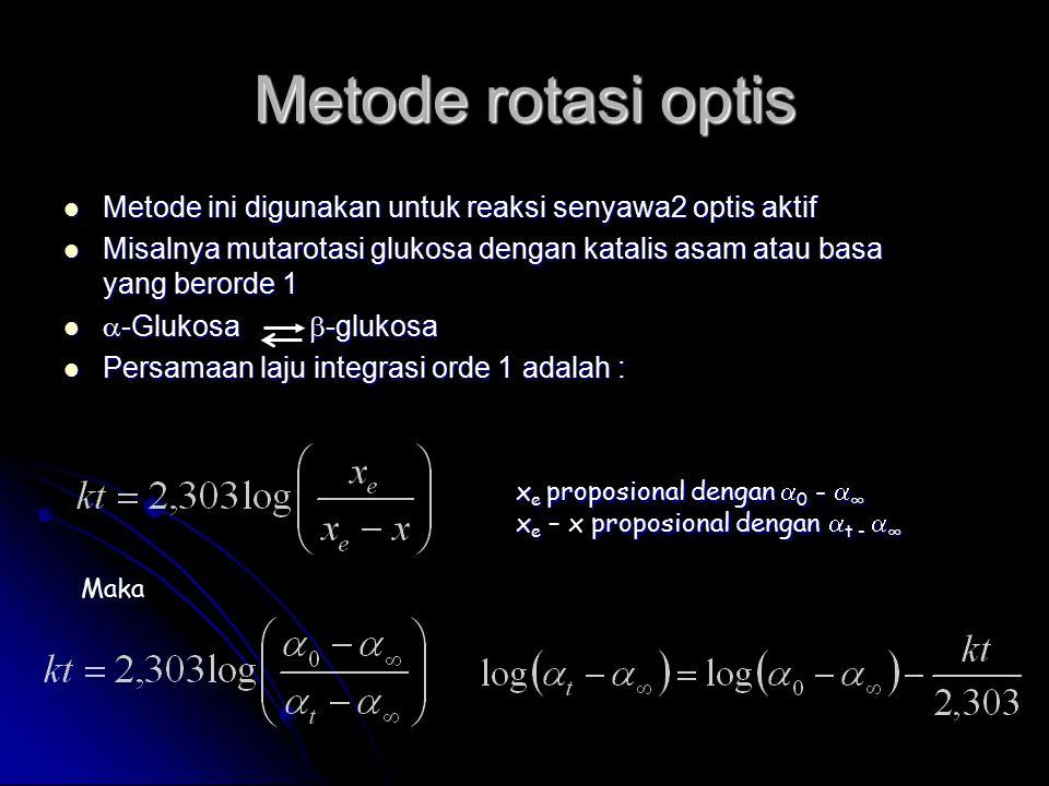 Metode rotasi optis Metode ini digunakan untuk reaksi senyawa2 optis aktif. Misalnya mutarotasi glukosa dengan katalis asam atau basa yang berorde 1.