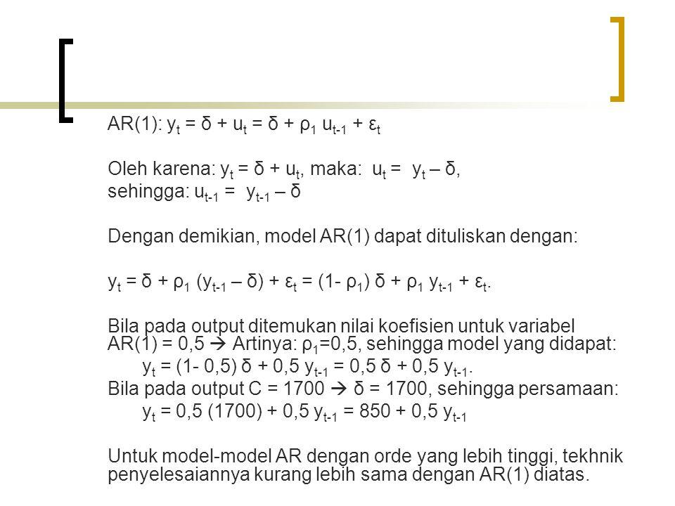 AR(1): yt = δ + ut = δ + ρ1 ut-1 + εt